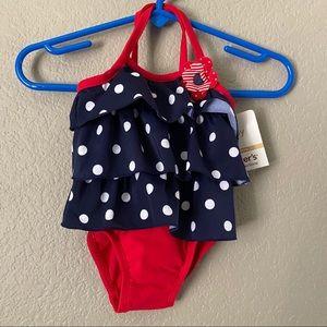 Carter's Red White Blue Polka Dot Swimsuit 6M